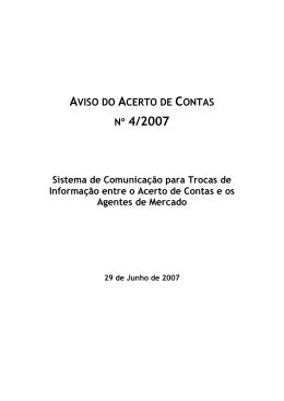 Aviso n.º 4 do MPAC - 2007