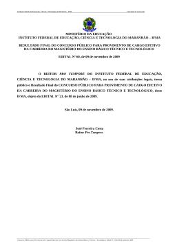 MINISTÉRIO DA EDUCAÇÃO INSTITUTO FEDERAL DE