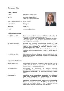 Prof.ª Doutora Sofia Gomes Santos