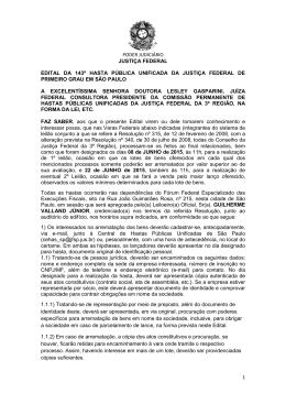 PODER JUDICIÁRIO JUSTIÇA FEDERAL 1 EDITAL DA 143ª