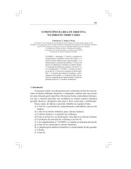 O Princípio da Boa-Fé Objetiva no Direito Tributário
