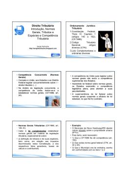 Direito Tributário Introdução, Normas Gerais, Tributos e Espécies e