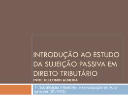 Introdução ao Estudo do Direito tributário Prof - sindifisco-rs