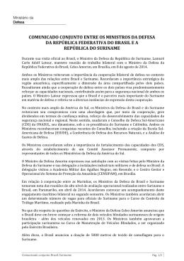 Comunicado conjunto entre os ministros da Defesa do Brasil e do