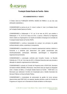 Ato Administrativo nº 0140 - Organograma Regulação