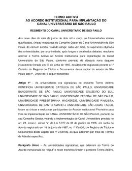 Termo aditivo ao Acordo Institucional para Implementação do
