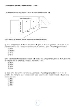 Teorema de Talles – Exercícios – Lista 1 - Psor