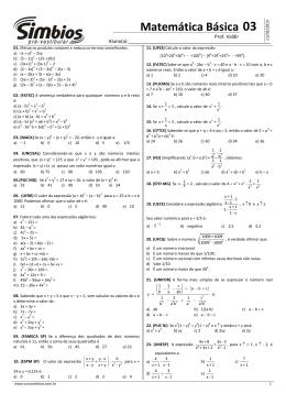 Matemática Básica - Produtos notáveis e fatoração