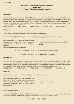 19/12/2005 Resolução da prova de Matemática Financeira AFRF