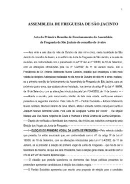 ASSEMBLEIA DE FREGUESIA DE SÃO JACINTO