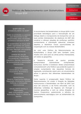 Política de Relacionamento com Stakeholders Grupo EDP