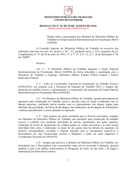 Dispõe sobre a participação dos Membros do Ministério Público do
