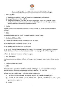 Alguns aspectos práticos essenciais do funcionamento do Centro