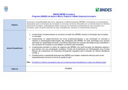 BNDES MPME Inovadora Programa BNDES de Apoio a Micro