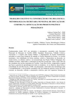 TRABALHO COLETIVO NA CONSTRUÇÃO DE UMA BOA ESCOLA