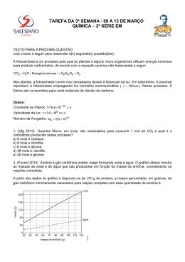 tarefa da 3ª semana - 09 a 13 de março química – 2ª série em