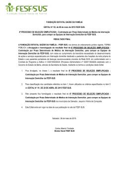 Edital 03 - Resultado Final - Médico Internação Domiciliar
