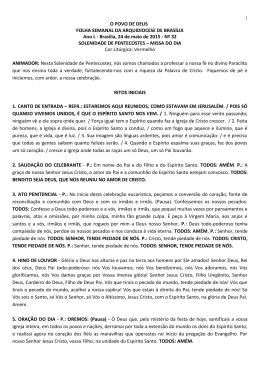 Solenidade de Pentecostes - Arquidiocese de Brasília