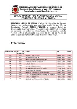 edital 08 de publicação da classificação geral do processo seletivo