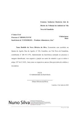 Relatório nos termos do artigo 155º do C.I.R.E.