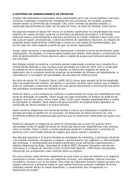 A HISTÓRIA DO GERENCIAMENTO DE PROJETOS