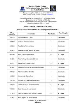 Result. Final 1ª fase - Concursos - UFBA