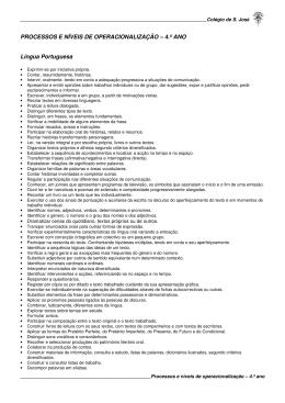 PROCESSOS E NÍVEIS DE OPERACIONALIZAÇÃO – 4.º ANO