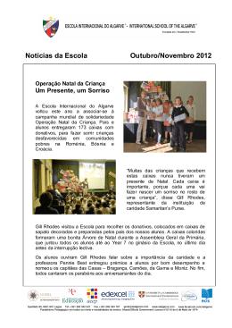 Notícias da Escola Outubro/Novembro 2012