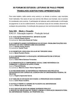 XII FORUM DE ESTUDOS: LEITURAS DE PAULO FREIRE
