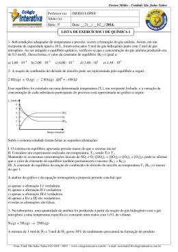Lista de Química I -3ª Série