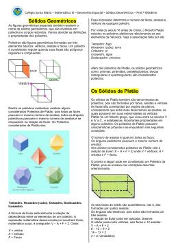 Sólidos Geométricos Os Sólidos de Platão