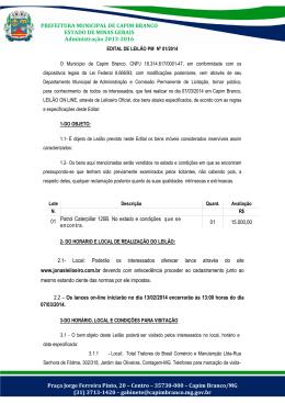 PREFEITURA MUNICIPAL DE CAPIM BRANCO ESTADO DE