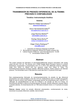 TRANSMISSOR DE PRESSÃO DIFERENCIAL DE ALTÍSSIMA