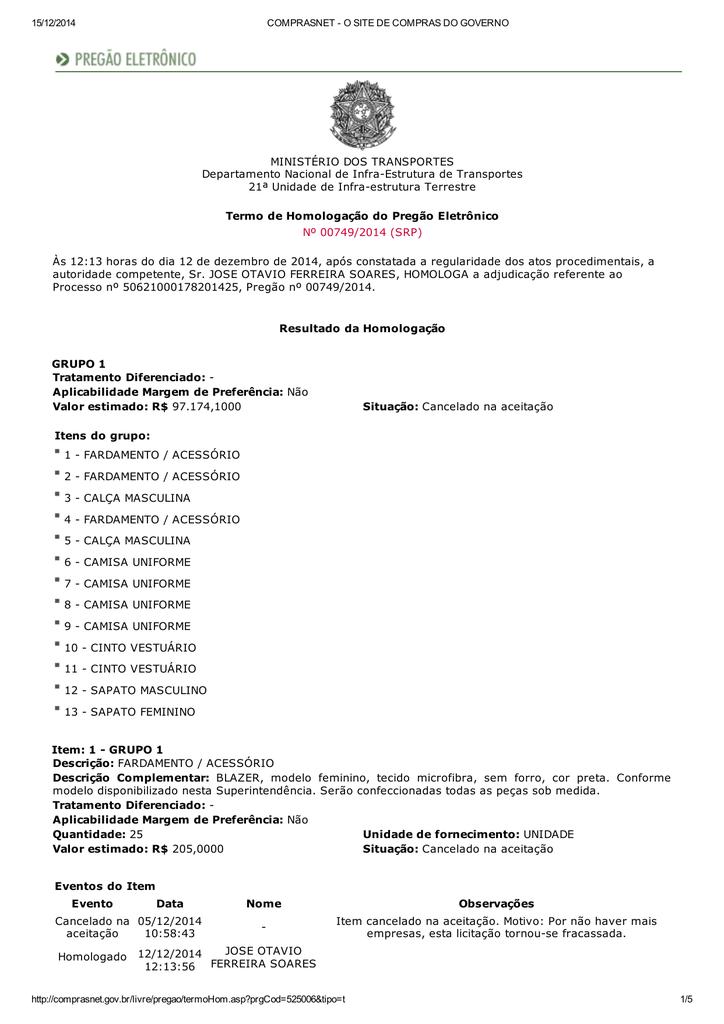 0d7d04bf75 Termo de Homologação - Pregão Eletrônico 749 2014-21