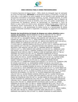 INSS CONVOCA PARA O CENSO PREVIDENCIÊRIO O Instituto