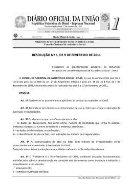 resolução nº 4, de 9 de fevereiro de 2011