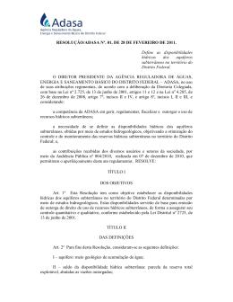RESOLUÇÃO/ADASA Nº. 01, DE 28 DE FEVEREIRO DE 2011