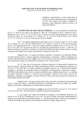 PORTARIA SOF N 06, DE 28 DE FEVEREIRO DE 2011. Estabelece