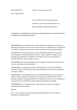 RESOLUÇÃO Nº 657 Maceió, 15 de Fevereiro de 2011 Autor: Mesa