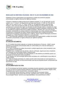 RESOLUÇÃO DA DIRETORIA COLEGIADA - RDC Nº