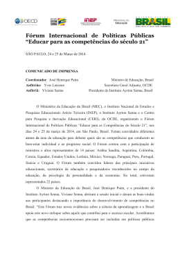 "Fórum Internacional de Políticas Públicas ""Educar para as"