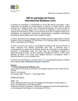 NIC.br participa de Fórum Internacional Software Livre