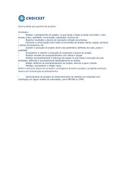 Oportunidade para gerente de projetos: Atividades: Definir