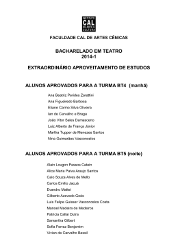 ALUNOS APROVADOS PARA A TURMA BT4