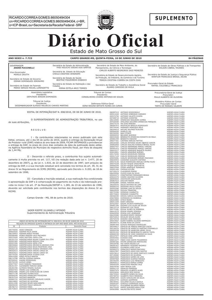 0ca0e5a485 Diário Oficial n. 7.723