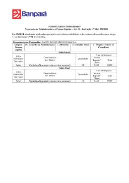 Em 09/2014, não foram realizadas operações com valores