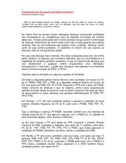 A esquizofrenia do quadro partidário brasileiro No último final de