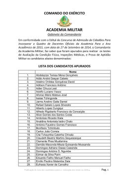 lista dos candidatos apurados - Academia Militar do Exército