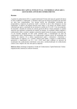 CONTROLE DO CAPITAL INTELECTUAL: UM MODELO APLICADO