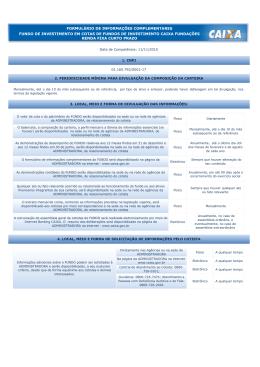 FORMULÁRIO DE INFORMAÇÕES COMPLEMENTARES
